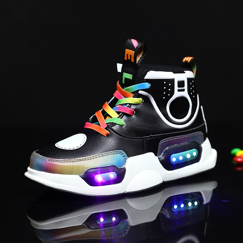 Led Children Shoes Black New USB Charging Basket Shoes With Light Up Kids Casual Boys&Girls Sneakers Genuine Leather Shoes soft kids boys girls casual shoes genuine leather elastic soft sole hook