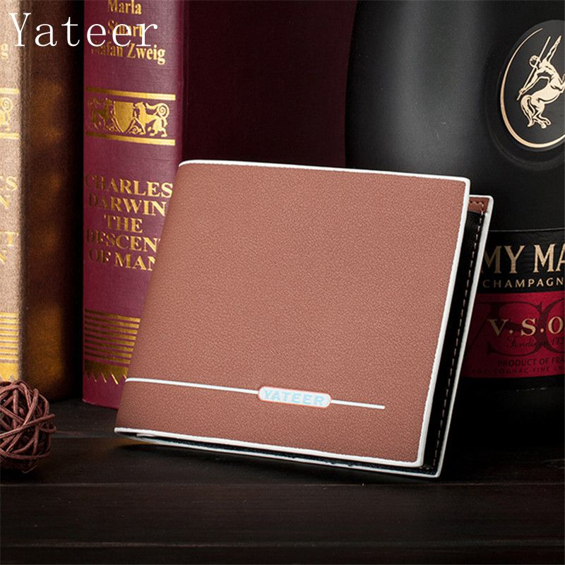 Yateer PU Leather Men's Wallet With Coin Pocket Matte skin Men Wallets Luxury Brand Male Purse With Card Holder Dollar Price baellerry new wallet men designer pu leather mens wallet with coin pocket removable card holder high quality luxury male purse