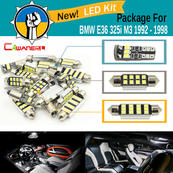 Cawanerl Car 2835 SMD Interior Dome Map Trunk License Plate Light Canbus LED Kit Package White For BMW E36 325i M3 1992-1998 image