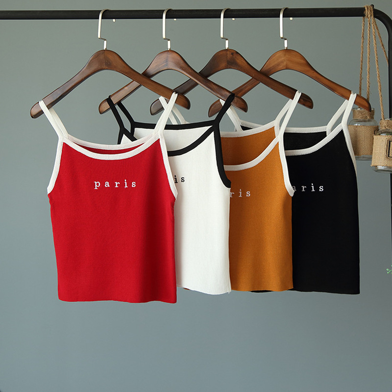2018 New   Tank   Camis Wild Fashion Paris Letter Printed Knitted Vest for Women Casual Cotton Kawaii   Tank     Tops   Sweet Girl