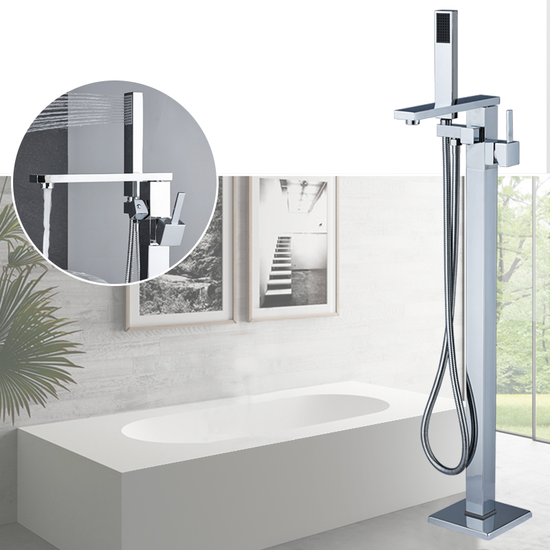 Contemporary Chrome Polish Bathroom Shower Bath Tub Mixer Tap Bathroom Faucet Floor Mounted Tub Tap Single Handle W/Hand Shower chrome finished floor mounted swivel spout bathroom tub faucet single handle mixer tap