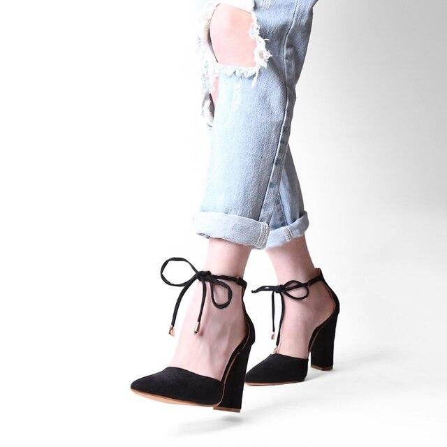 2017 High Heels Women's Sandals Summer Autumn Flock Shoes Woman Ladies Pumps Sexy Thin Air Heels Footwear Women Shoes Lace Up