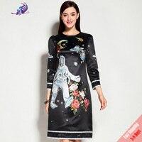 Runway Fashion Dress 2017 High Quality Women New Autumn Long Sleeve Casual Space Robot Flower Printed Black Dress Free Fast DHL