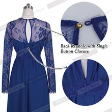 Nice-forever Sexy Blue Summer Elegant V Neck Long Lace Sleeve Fitted dress Women Fashion Slimming Chiffon Split Maxi Dress A001