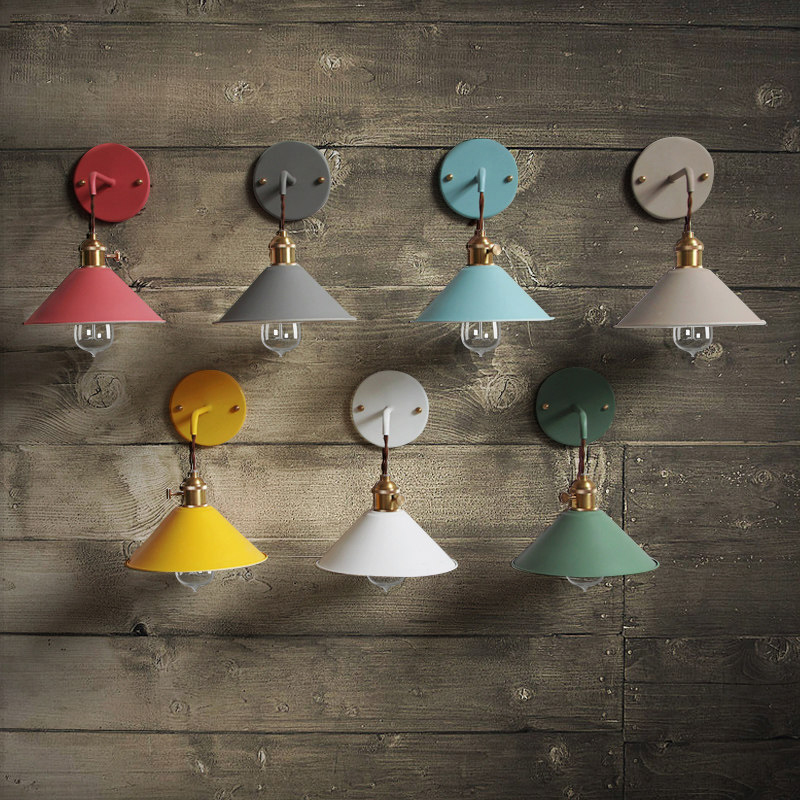 Nordic personality macaron color wall lamp creative modern E27 bulb bedside lamp colorful choice furniture decorative lighting
