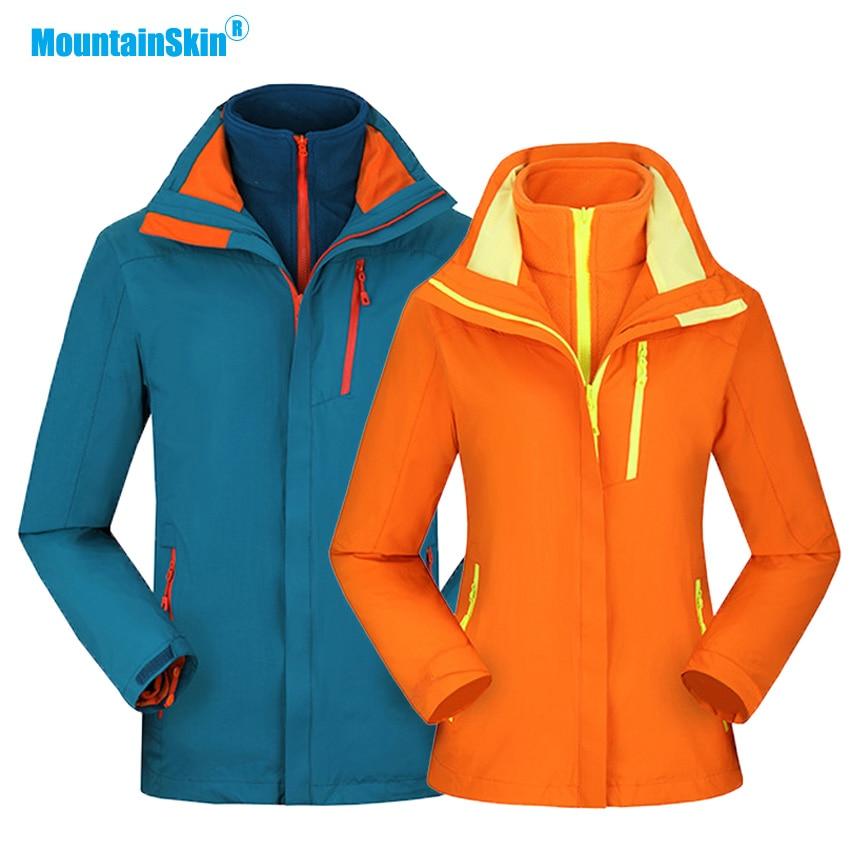 Mountainskin Men Women Winter Fleece 2 Pieces Jacket Outdoor Sport Windbreaker Hiking Camping Trekking Skiing Brand Coats MA207