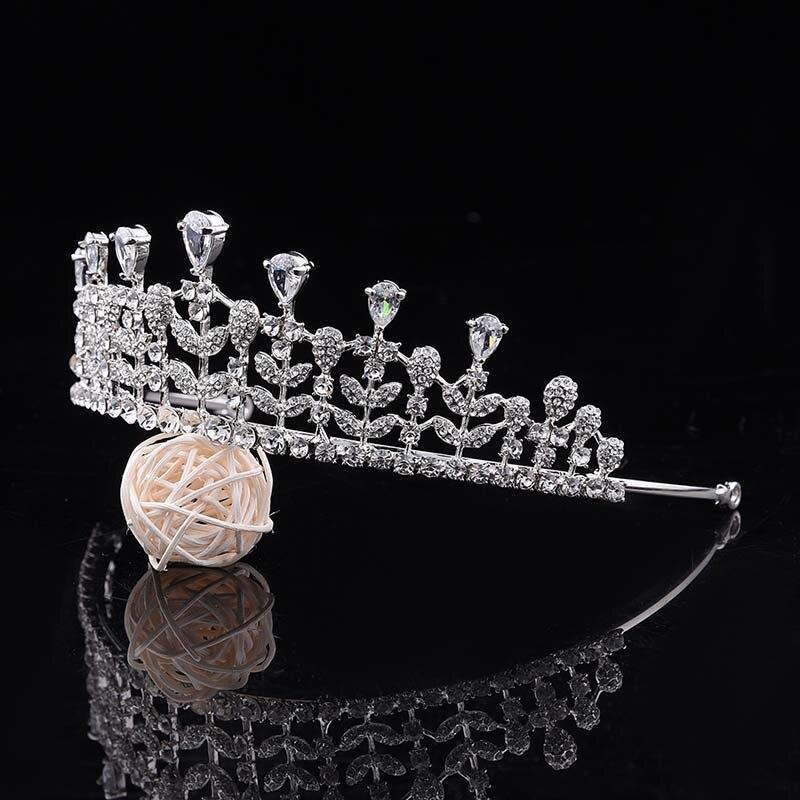 Women Luxury Rhinestone Crystal Leaf Bride Princess Tiara and Crown Wedding Bridal Coronal Headpiece Hair Jewelry Accessories JL