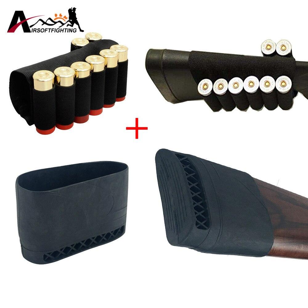 Tactical 12GA Shotgun Buttstock 20GA Battaglia Ammo Pouch 8 Round & Buttstock Anti-Slip Pad Accessori Caccia Rinculo del Fucile