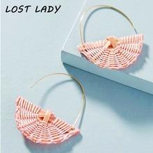 Lost Lady Handmade Alloy Drop Earrings For Women Ethnic Wooden Straw Weave Rattan Sector Wedding Trendy Dangle Jewelry