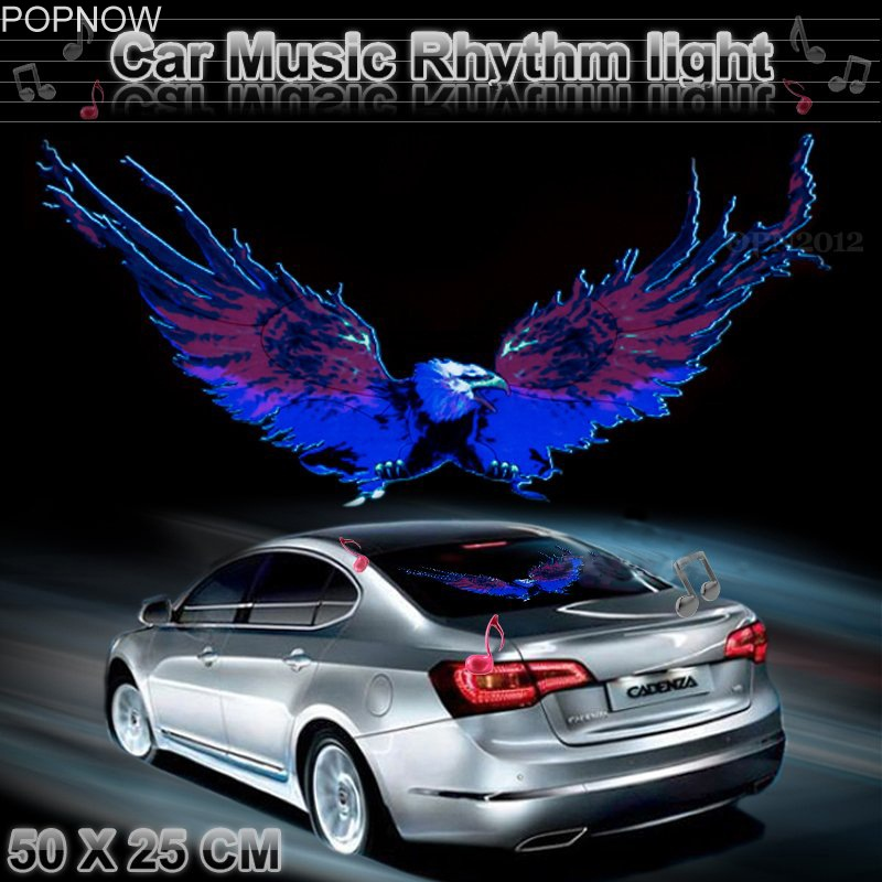 Popnow 50x25cm Car Sticker LED Activated Equalizer Flash Light Decal Car Styling Music Rhythm LED Light