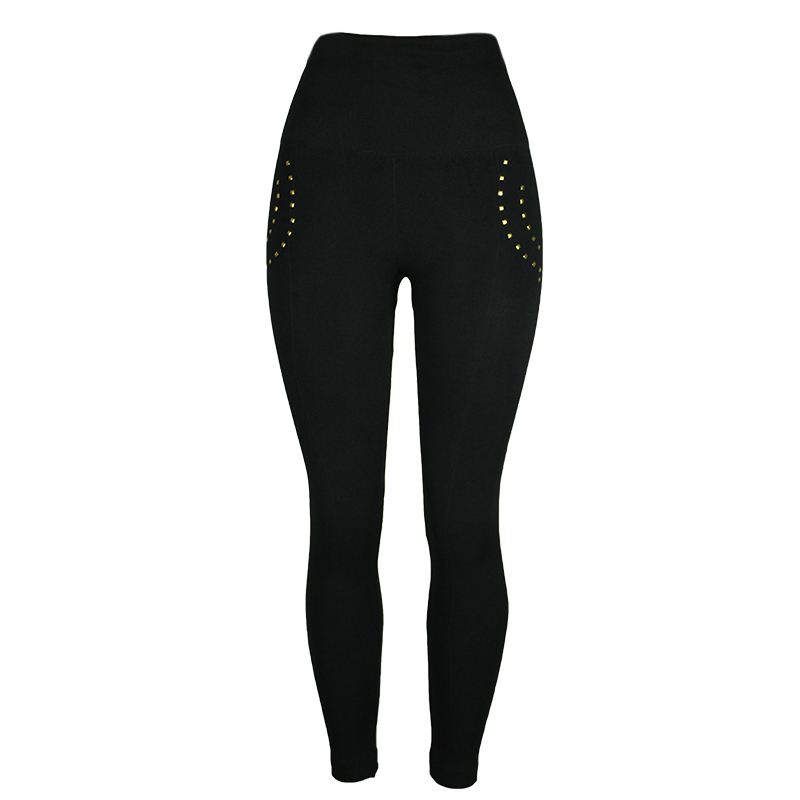2019 New Women Compression Fitness Pants 3XL Base Layer Pants Black Leggings Rivet Casual Ladies High Waist Plus Size Leggings