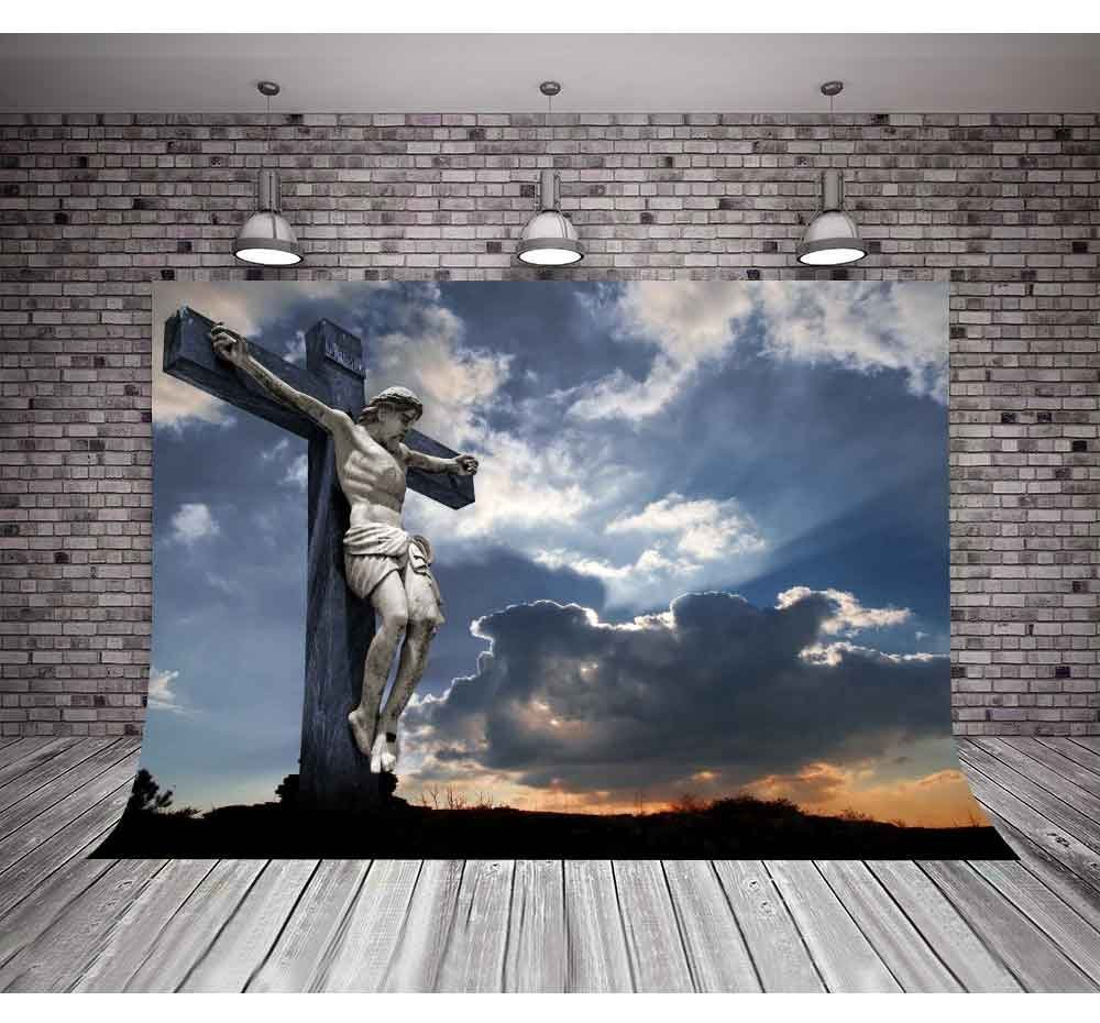 Christian Cross Crucifixion Golgotha Sculpture Clouds backdrop polyester or Vinyl cloth Computer print wall background