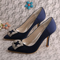 (20 Colors)Wedopus Women Pointed Shoes High Heels Navy Blue Satin Party Evening Shoes Wedding