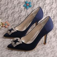 (20สี) Wedopusผู้หญิงชี้รองเท้ารองเท้าส้นสูงกองทัพเรือสีฟ้าพรรคซาตินรองเท้าแต่งงาน