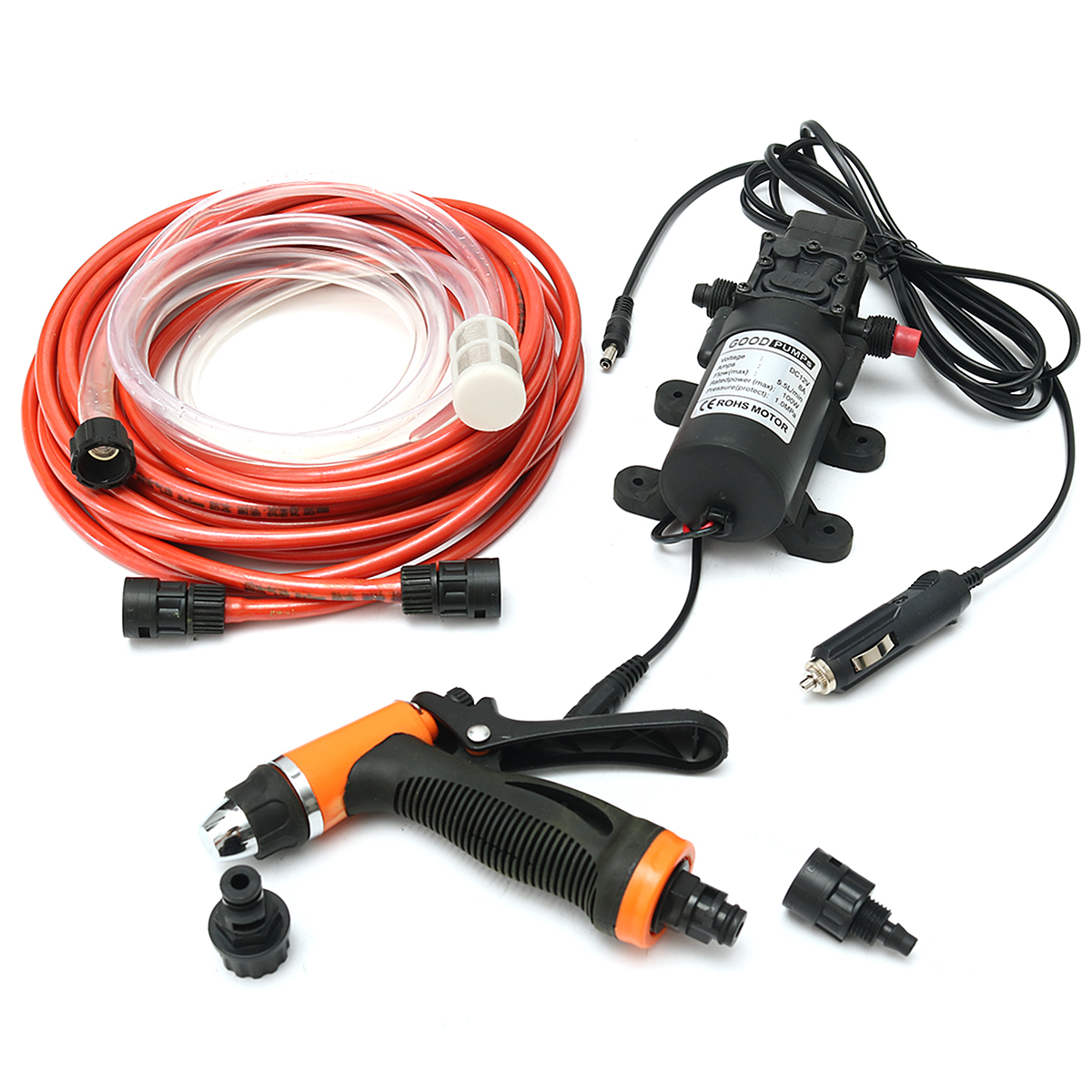 12V 100W 160PSI High Pressure Self-priming Electric Car Wash Washer Portable Washing Machine Cigarette Lighter Water Pump Set portable water pump cigarette lighter high pressure 12v spray gun car cleaner self suction electric car washer