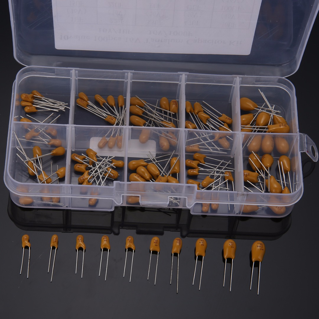 100pcs Capacitors High Precision 16V 10 Value Tantalum Capacitor Assorted Kit Box Assorstment Capacitors 13 x 6.5 x 2cm 1uf 2200uf 125pcs 25 value electrolytic capacitors assorted kit set