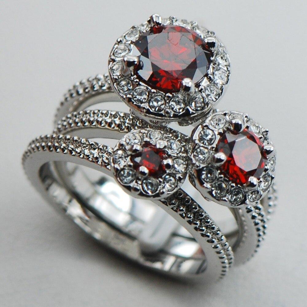 גארנט כסף סטרלינג 925 למעלה איכות פנסי חתונה שלוש טבעת אירוסין תכשיטי גודל 6 7 8 9 10 F1120