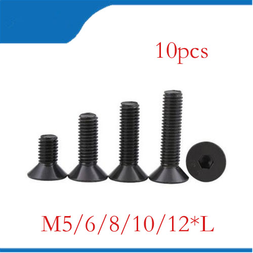 M5 black 10pcs M5 M6 M8 M10 M12 mm flat head countersunk head black grade 10.9 Alloy Steel Hex Socket Head Cap Screw nails,bolts free shipping 100pcs m4x12 mm m4 12 mm flat head countersunk head black grade 8 8 carbon steel hex socket head cap screw