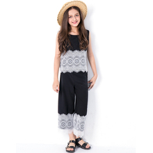 Female Childrens Fashion Summer Suit for Girls Pants Set Cotton Lace Vest Tee Shirt Trousers Clothing Sets 2018 Teenagers