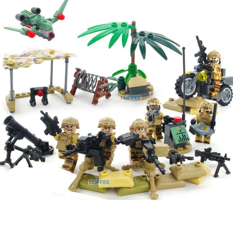 6 unids Fuerza Delta del ejército militar de SWAT de la Marina equipo WW2 soldados arma bloques de construcción ladrillos cifras regalos de juguetes para los niños