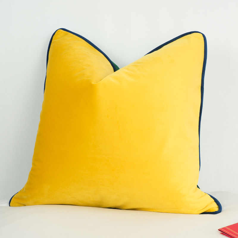 3 Colors Velvet Cushion Cover Luxury Green Bright Yellow With Deep Green Piping Pillow Case Soft No Balling Up Without Stuffing Cushion Cover Aliexpress