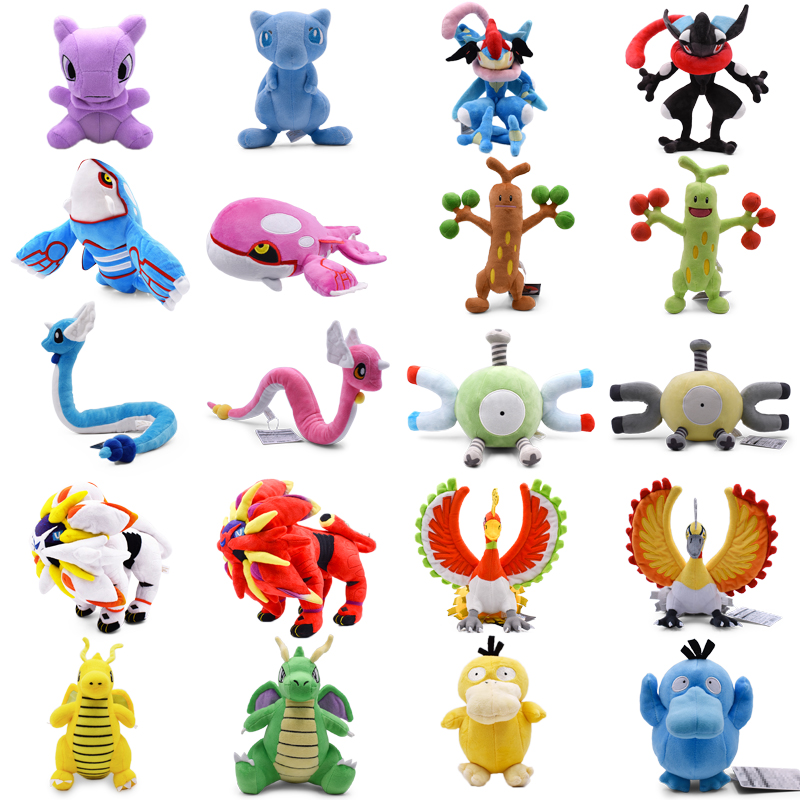 20 styles Anime Shiny Mew Greninja Dragonair Psyduck Dragonite Kyogre Solgaleo Ho-Oh Magnemite Stuffed Plush Cartoon Doll Toy(China)