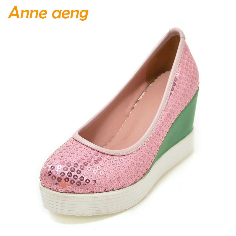 Spring Autumn Women Pumps High Wedge Heels Shoes Platform Round Toe Bling Very Light TPU Outsole