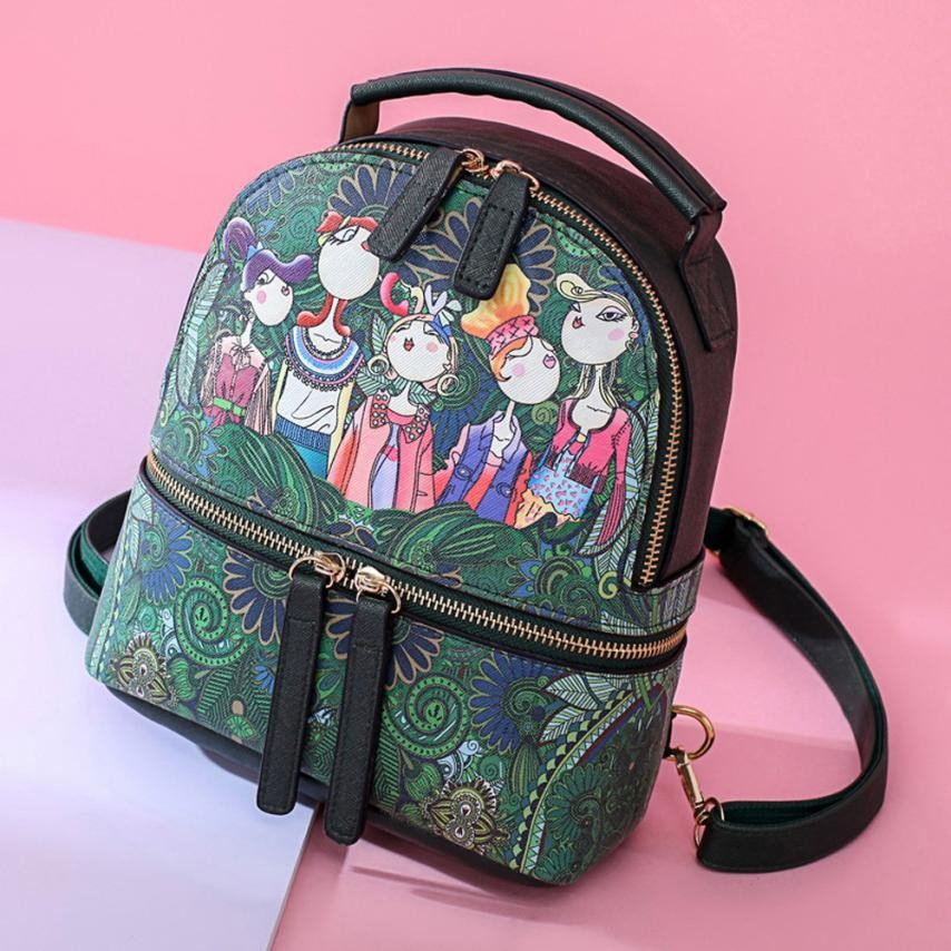 Women Forest Girls Pattern Printing Backpack High Quality Youth Pu Leather Backpacks For Girls Female Travel School Shoulder Bag