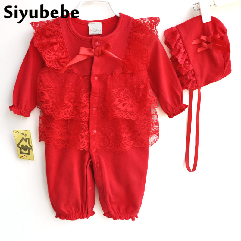Baby Lace Romper Set High Quality Long Sleeve Bebe Jumpsuit Winter Thicken Cotton Princess Dress Newborn Baby Girl Clothes 0-12M
