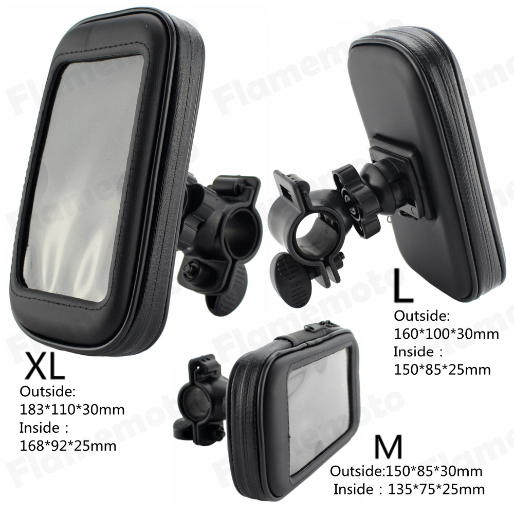 Motorcycle Bicycle Handlebar Holder Mount Waterproof Bag Case For Cell Phone GPS Sell M UNDEFINED universal motorcycle bicycle abs holder base for cell phone interphone gps black