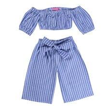 Baby Girls Clothing Sets Blue Striped Off Shoulder Top+ Bow Pants 2pcs Vogue Kids Girls Clothes Suits girls off shoulder flounce sleeve striped top