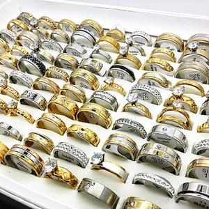 Image 2 - Toptan 50 adet yüzük seti altın gümüş renk erkek kadın büyük yapay elmas zirkon paslanmaz çelik metal moda nişan takı