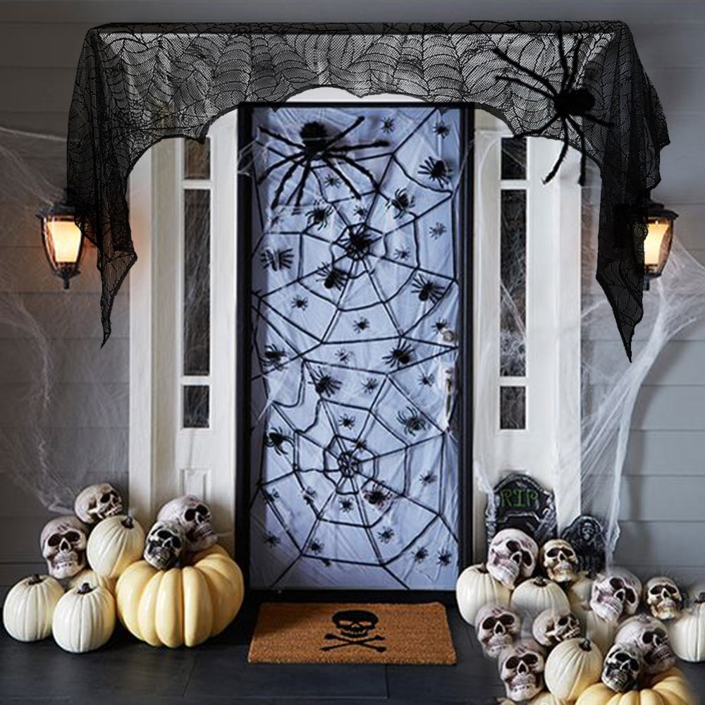 black spider fireplace mantel scarf halloween decorations for home horror halloween decoration party supplies 18890cm - Halloween Fireplace