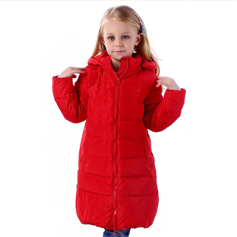 ФОТО Children White Duck Down Parka Baby Girls Winter Long Jacket Big Hooded Jacket Kid's Wool Thick Down Coats Zip Red Yellow Green