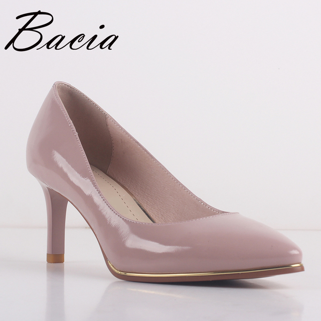 Bacia NEW Patent Leather & Sheepskin Pumps 8 colors 6.8cm High heel Pumps Red,Black,Blue,Pink Quality Pointed Toe Shoes SA063