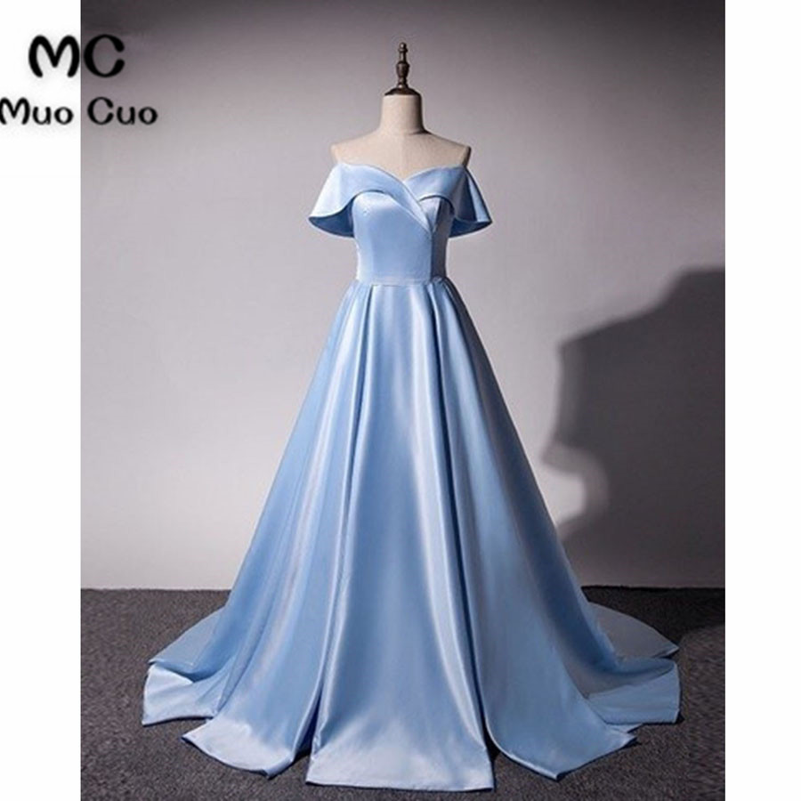 2018 New Off Shoulder Prom   Dresses   Satin Draped Count Train Lace Up Back Short Sleeves Formal Women's   Evening     Dresses