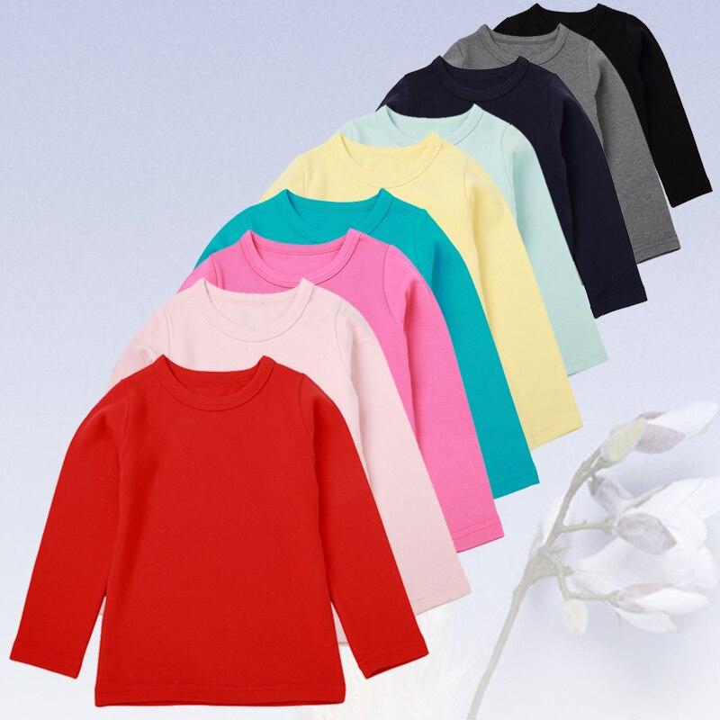 Meninos Meninas Roupas de Algodão Longo-manga comprida T-shirt Assentamento Camisa de Cor Sólida Selvagem 3-9 Y Criança Do Bebê Qualidade roupas 2019 Venda Quente