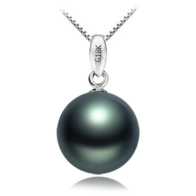 a796196dbe6 US $806.0 |Women Gift word 925 Sterling silver real Aquaculture natural  pearl necklace round Tahiti Black Pearl pendant s Jewellery-in Pendants  from ...