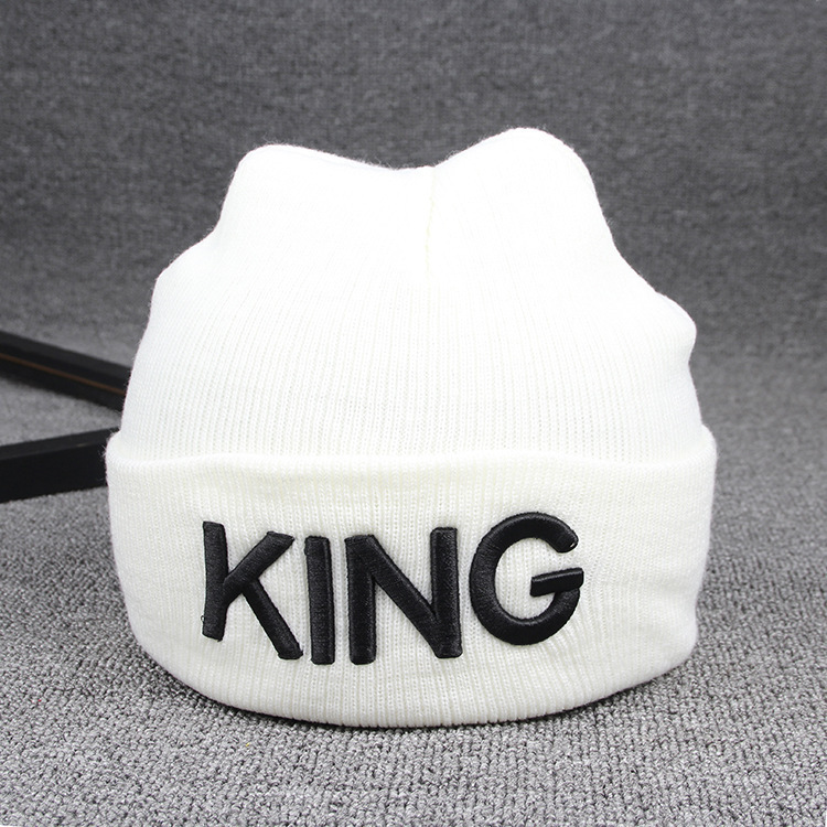 Beanies Cap KING QUEEN Letter Embroidery Warm Winter Hat Knitted Cap Hip Hop Men Women Lovers Street Dance Bonnet Skullies Black 26