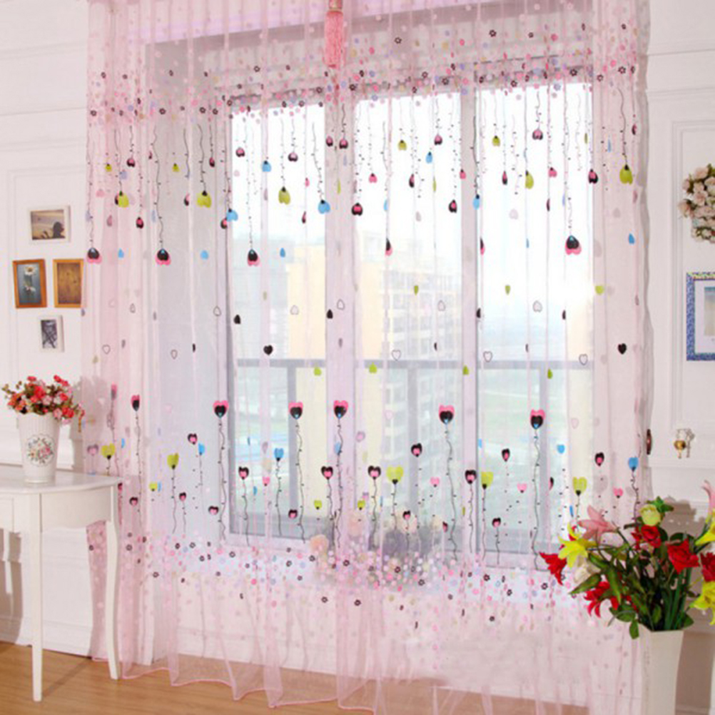 1PC Romatic Balloon Tulle Voile Door Window Curtains Drape Panel Sheer Scarfs Valances For Living Room 2 Colors