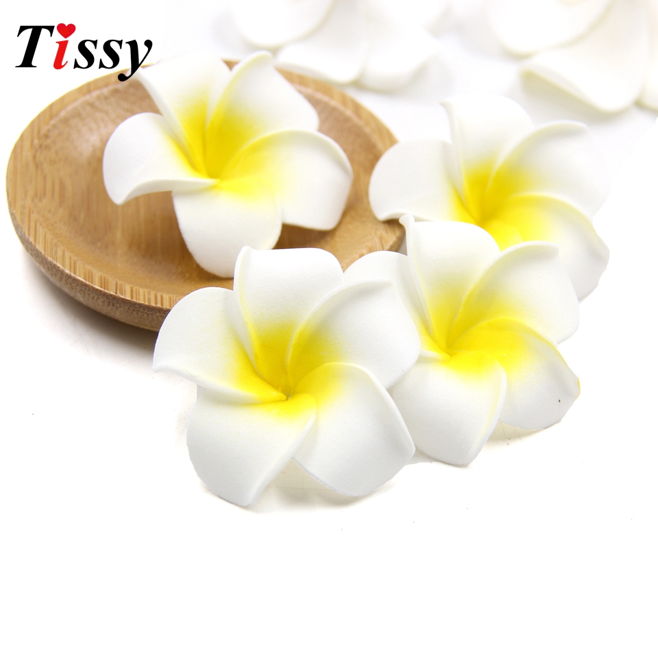 25PCS Plumeria Hawaiian Artificial Flowers PE Foam Flowers White Frangipani Egg Flowers DIY Craft Wedding Decoration Supplies