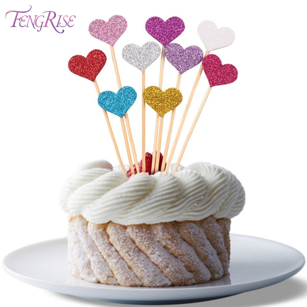 FENGRISE 40pcs Glitter Love Heart Wedding Cake Topper Souvenirs Birthday Party Decoration...