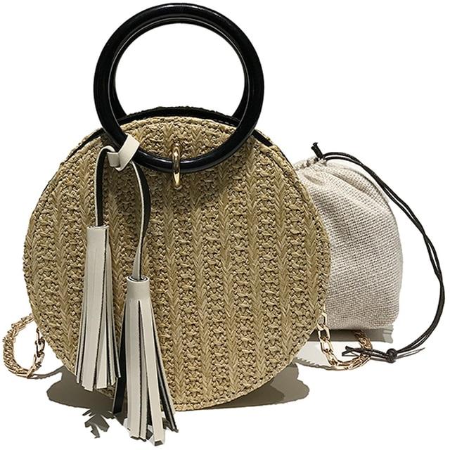 2018 Handmade Rattan woven Round Handbag Vintage Retro Straw Knitted  Messenger Bag Lady Fresh Handbag Summer 939a0a3ca43a0