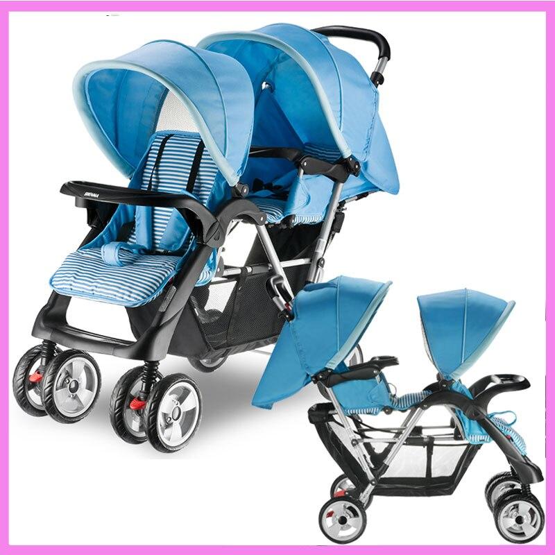 Twins Baby Stroller Double Baby Stroller for Twins Double Umbrella Baby Stroller 2 In 1 Travel System Car Pram Pushchair Buggy stroller car seat newborn pram 3 wheels baby stroller 3 in 1 prams pushchair pram stroller travel system free shipping