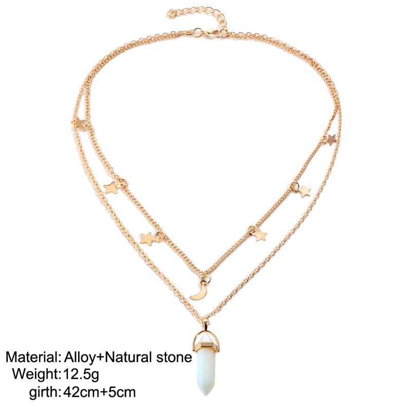 HTB123 lQFXXXXXbaXXXq6xXFXXXA - Moon Star Choker necklaces for Women Gold Color Double Layer Crystal Pendant Necklace Jewelry PTC 262