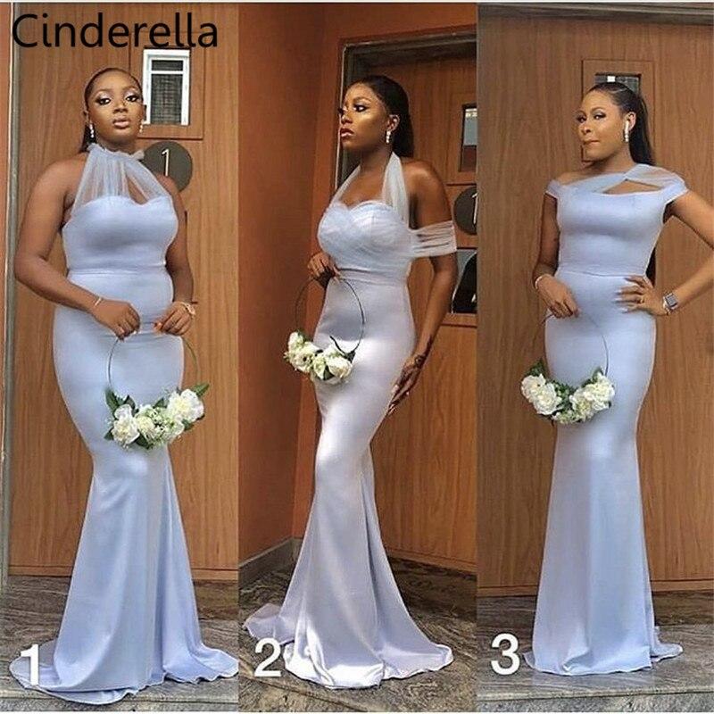 Cinderella African Silver Sleeveless Satin Pleated Mermaid Bridesmaid Dresses Zipper Back Sweep Train Wedding