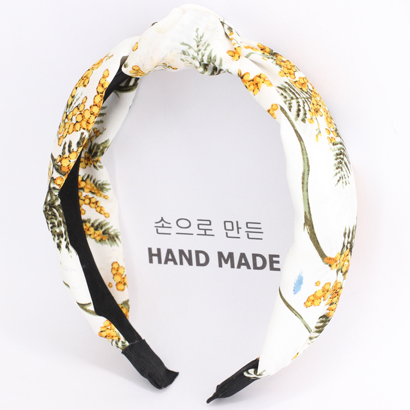 3pcs lot Mimosa Knot Hair Bands For Girls Twisted Turban Leaves With Bees Floral Print Headbands Hair Accessories For Women in Women 39 s Hair Accessories from Apparel Accessories