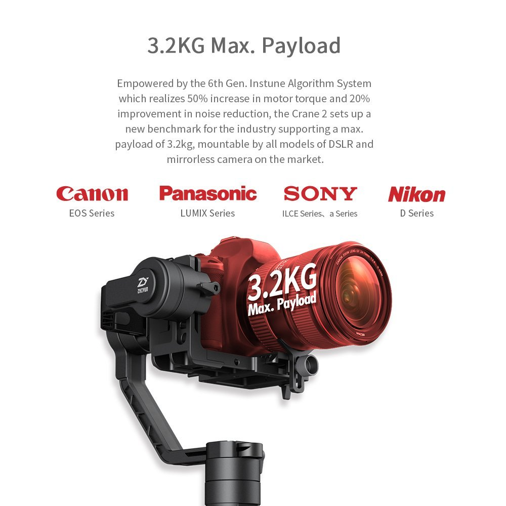 Zhiyun Crane 2 3 eje cardán portátil cámara de vídeo giroscopio estabilizador para DSLR con enfoque de seguimiento remoto 3,2Kg de carga útil pantalla OLED - 4