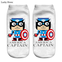 New Cute 3D Print Socks Women Unisex Pug / Captain America Ankle Sock Harajuku Dog Funny Socks Meia Calcetines