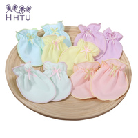 HHTu Baby Newborn Baby Cotton Gloves Anti Scratch Protective Gloves Combed Cotton Gloves Random Delivery